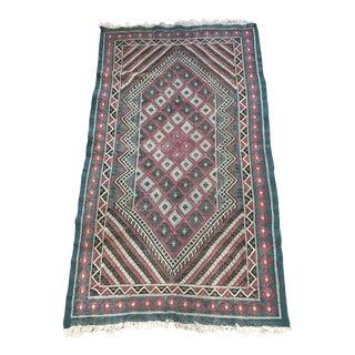 Vintage Turkish Kilim Teal and Brown Rug - 3′4″ × 6′