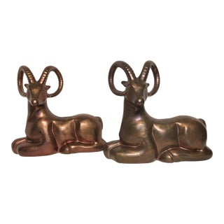 Mid-Century Haeger Ram Figurines - A Pair