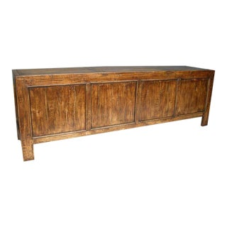 Custom Walnut Wood Japanese Inspired Rustic Console, Buffet or Cabinet