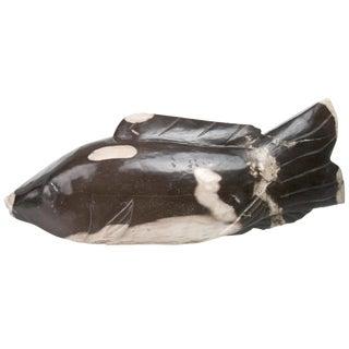 Hand Carved Petrified Wood Koi Fish
