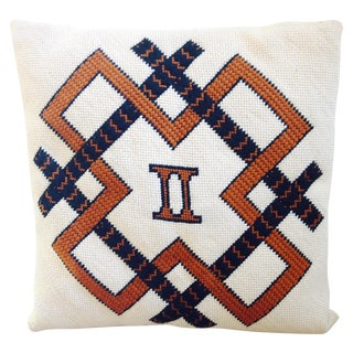 Mid-Century Equestrian Style Needlepoint Pillow