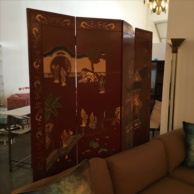 Signed Maitland Smith Four-Panel Asian Themed Wood and Brass Screen - Image 7 of 11
