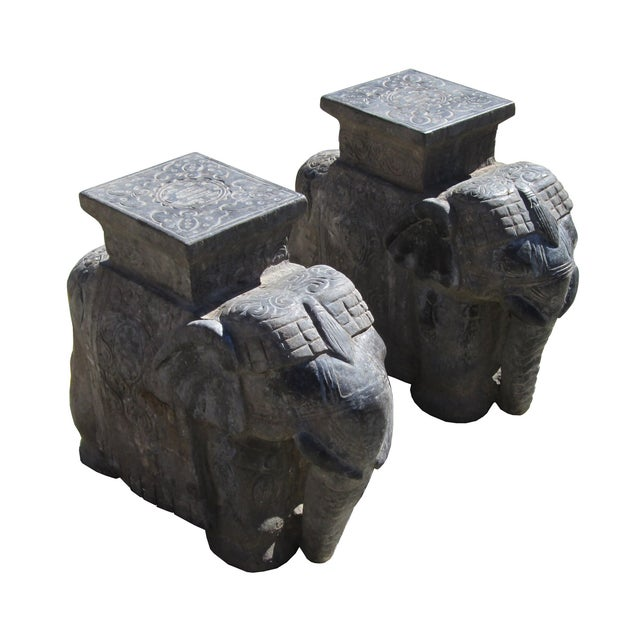 Image of Carved Chinese Solid Stone Elephant Statues - 2