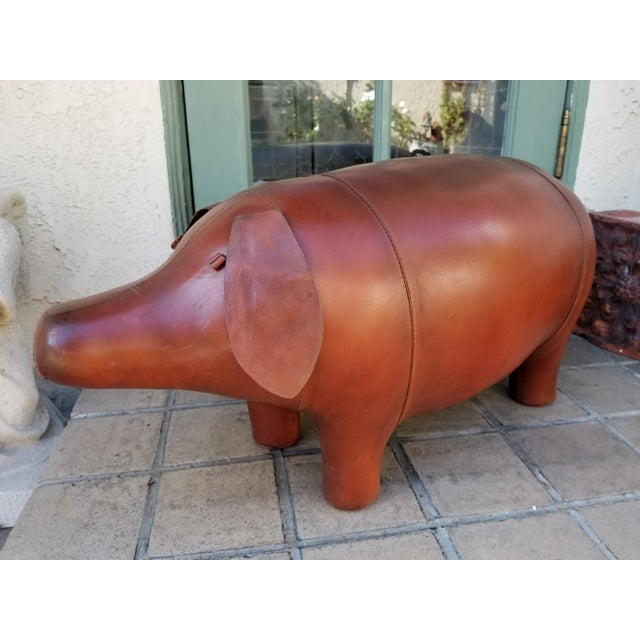 Large Leather Pig Footstool - Image 4 of 4