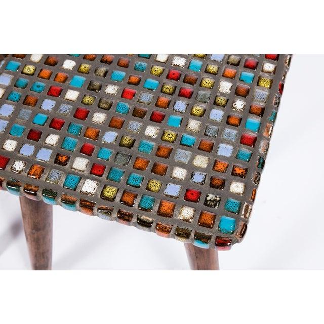 Tiled Teak Side Tables - A Pair - Image 3 of 6