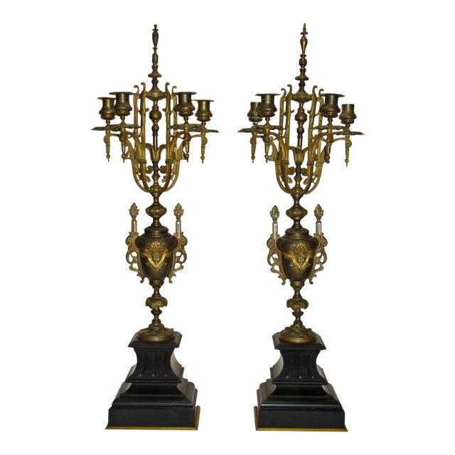 Huge Antique Victorian Neoclassical Bronze & Marble Candelabras - a Pair - Image 1 of 11