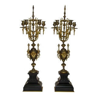 Huge Antique Victorian Neoclassical Bronze & Marble Candelabras - a Pair
