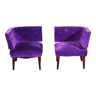 1950's Mid-Century Purple Lounge Chairs