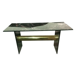 Vintage Glass and Brass Console Table