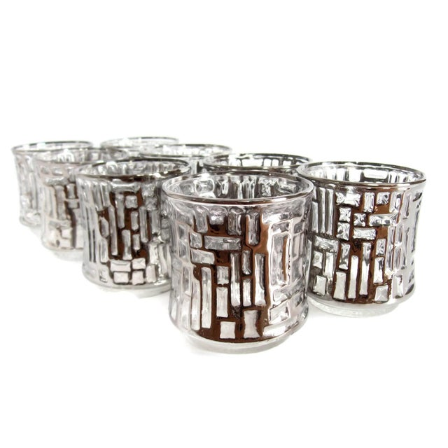 Mid-Century Artica Lowball Glasses, Silver Bamboo - Image 4 of 7