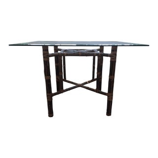 McGuire Sloan Bamboo Dining Table with Glass Top