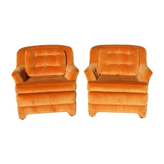 Mid Century Tufted Orange Velvet Accent Chairs - a Pair by Marge Carson