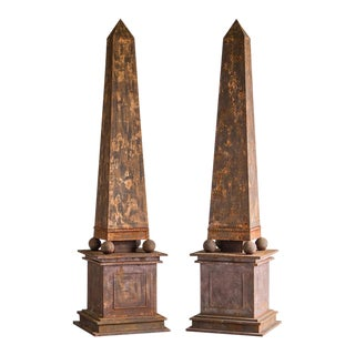 Pair of Enormous Vintage French Aged Metal Neoclassical Obelisks circa 1950