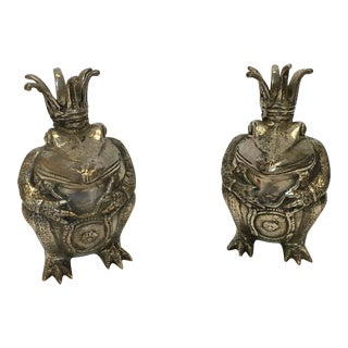 Antique Silver Frog Prince Figures- A Pair