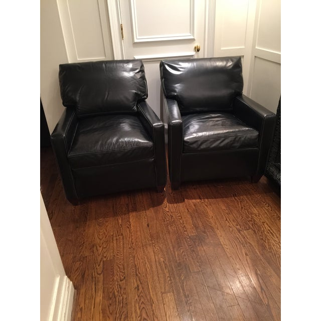 Custom Leather Contemporary Chairs - Pair - Image 8 of 9