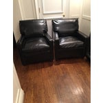 Image of Custom Leather Contemporary Chairs - Pair