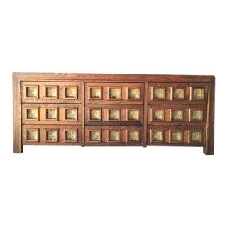 Vintage Wood and Cork Brutalist Dresser