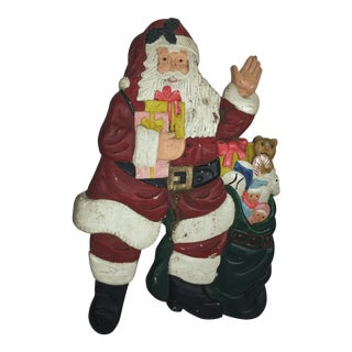 Painted Hand Carved Wood Santa Claus Plaque