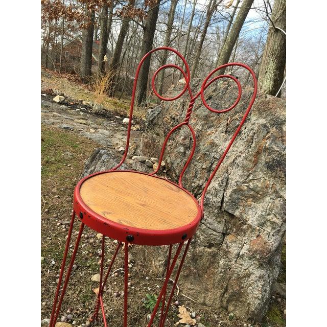 Vintage Red Iron Bar Stool - Image 5 of 6