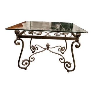 Decorative Iron & Glass Accent Table
