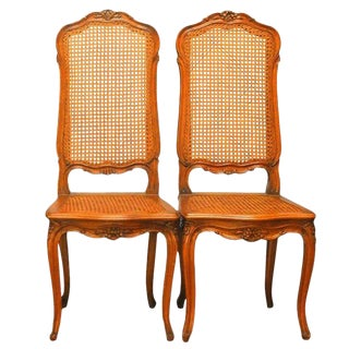 French Louis XV Style Cane Dining Chairs-Pair