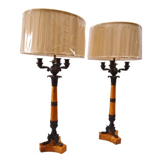 French Empire Sienna Marble & Bronze Candelabras Lamps - A Pair