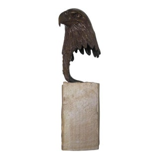 A Well-Executed American Bronze Head of an Eagle; Signed 'Charles Beecham'