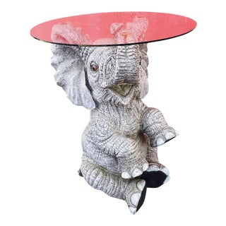 Vintage Horsehair Fiberglass Elephant Patio Table