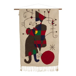 Joan Miro Style Mid-Century Wool Hanging Tapestry