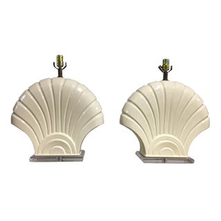 Ivory Shell Table Lamps - A Pair