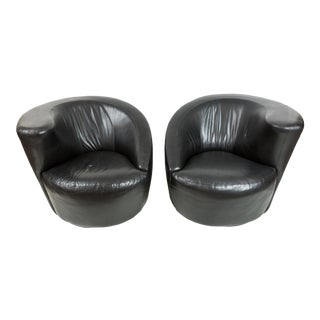 Vladimir Kagan for Directional Leather Nautilus Lounge Chairs - Pair