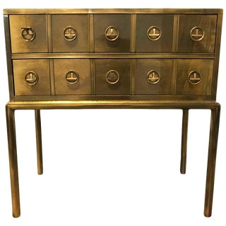 Mastercraft Brass Two-Drawer Small Chest of Drawers Cabinet