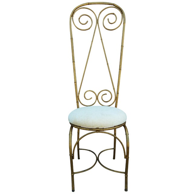 Mid-Century Whimsical Gilded High Back Chair - Image 1 of 4