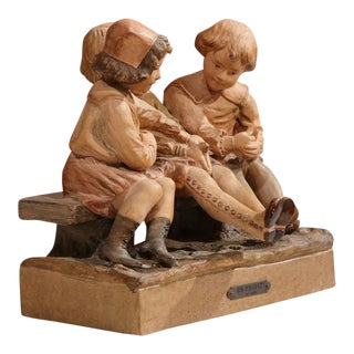 "19th Century French Terracotta Children Sculpture ""Un Projet"" Signed Baleaio"