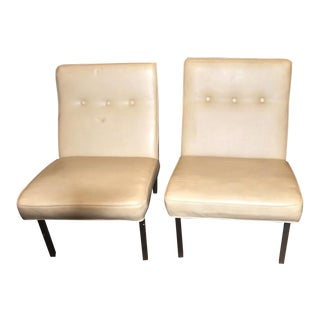 Knoll Beige Vinyl Slipper Chairs - A Pair