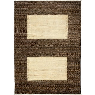 """New Gabbeh Hand Knotted Area Rug - 4'10"""" x 6'9"""""""