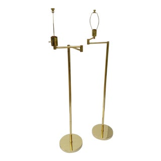 Vintage Paul Hanson Articulating Brass Floor Lamps - A Pair