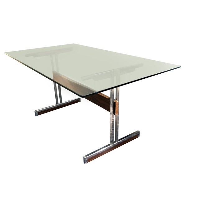 Modern Glass & Chrome Dining Table / Desk - Image 4 of 4