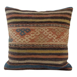 Vintage Turkish Striped Kilim Pillow Cover
