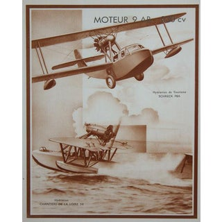 Three Unusual French Sepia Tone Lithographs of 1930's Airplanes