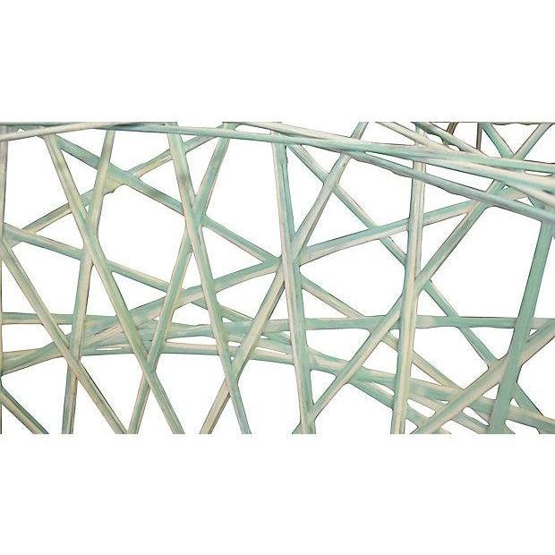 Green and White Spun Fiberglass Table Base - Image 3 of 4