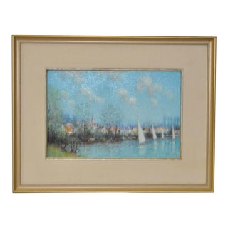 1960s Vintage Original French Landscape Painting by Jean-Louise Vergne