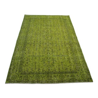 Turkish Hand Made Over-Dyed Green Rug- 5' x 8'8""