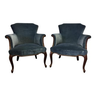 Vintage Blue French Style Club Chairs - A Pair