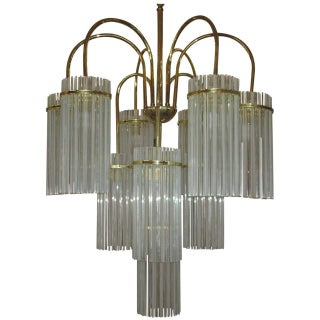 Hollywood Regency Cascading Glass Chandelier
