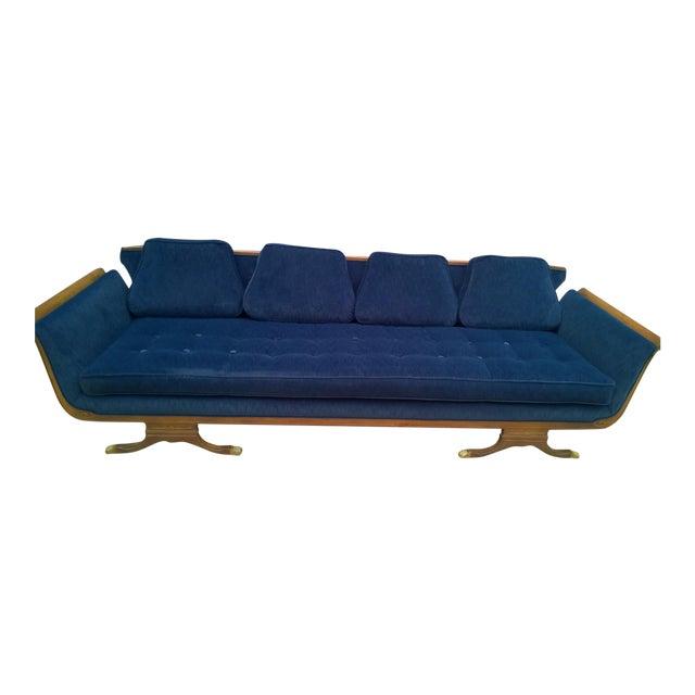Mid-Century Modern Navy Blue Sofa - Image 1 of 6