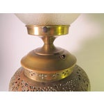 Image of Vintage 1910 Syrian Pierced Brass Table Lamp