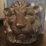 Image of Lions Head Bronze Bookends- A Pair