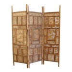 Handcarved Wooden Room Divider / Folding Screen