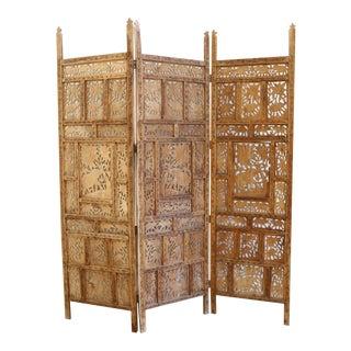Handcarved Wooden Room Divider / Folding Screen